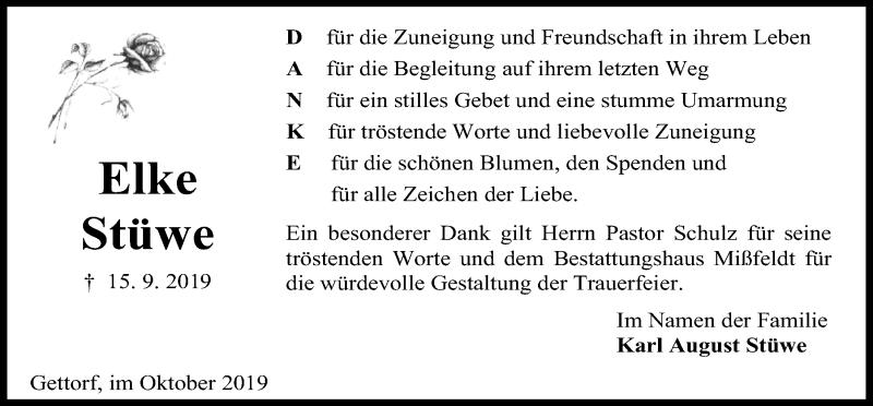 Traueranzeige für Elke Stüwe vom 12.10.2019 aus Kieler Nachrichten