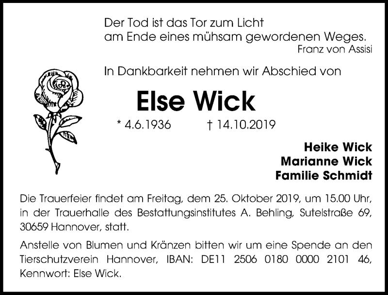 Traueranzeige für Else Wick vom 19.10.2019 aus Hannoversche Allgemeine Zeitung/Neue Presse