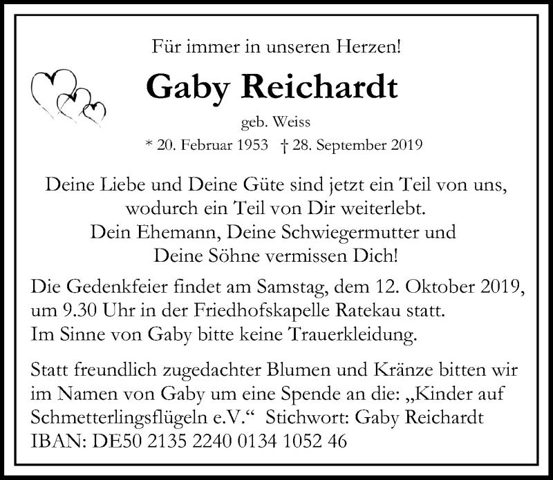Traueranzeige für Gaby Reichardt vom 06.10.2019 aus Lübecker Nachrichten