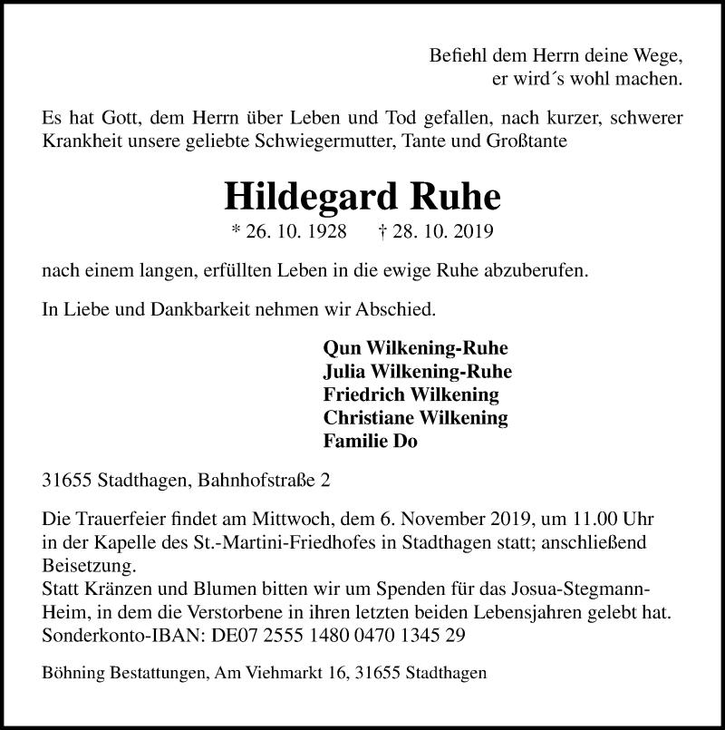 Traueranzeige für Hildegard Ruhe vom 30.10.2019 aus Schaumburger Nachrichten