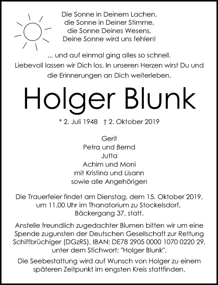 Traueranzeige für Holger Blunk vom 06.10.2019 aus Lübecker Nachrichten