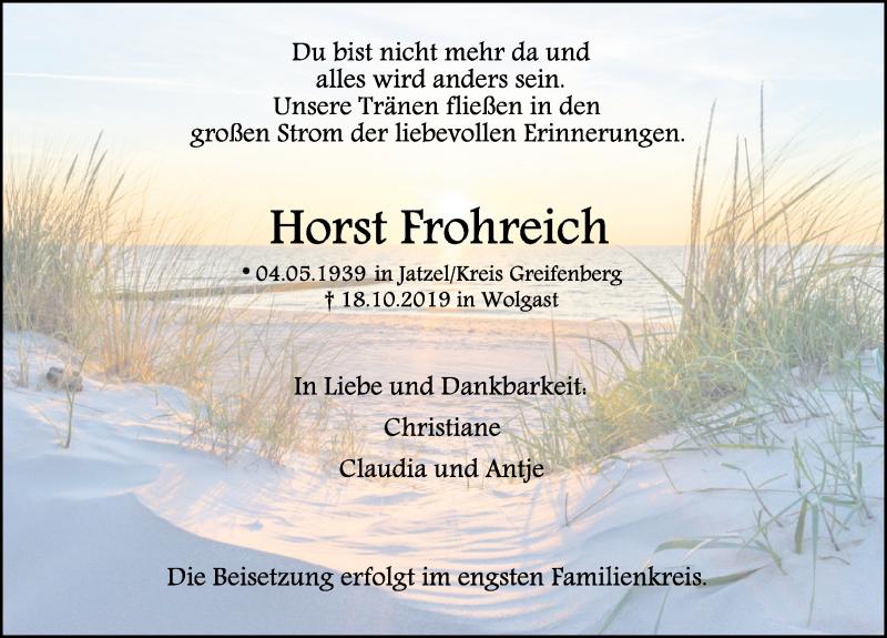 Traueranzeige für Horst Frohreich vom 26.10.2019 aus Ostsee-Zeitung GmbH