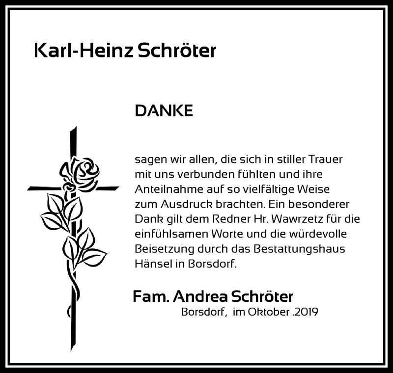 Traueranzeige für Karl-Heinz Schröter vom 26.10.2019 aus Leipziger Volkszeitung