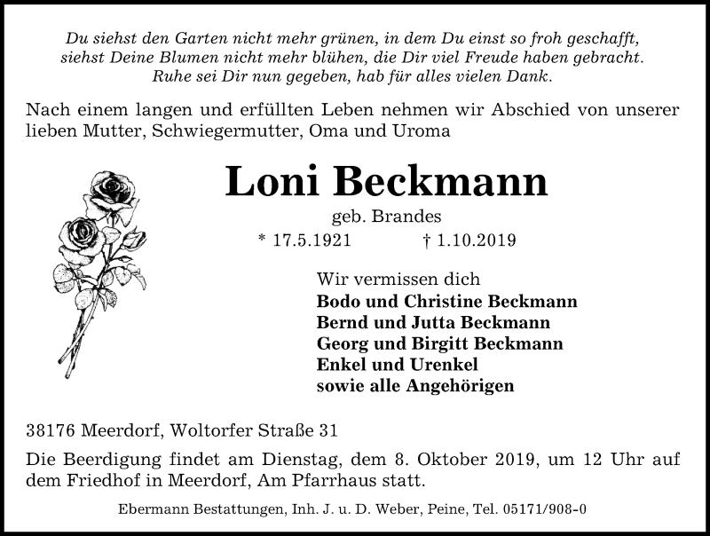 Traueranzeige für Loni Beckmann vom 05.10.2019 aus Peiner Allgemeine Zeitung