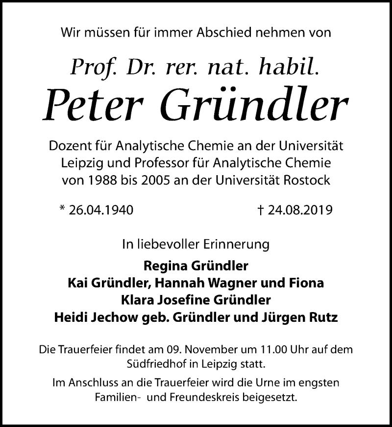 Traueranzeige für Peter Gründler vom 15.10.2019 aus Leipziger Volkszeitung