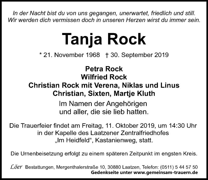 Traueranzeige für Tanja Rock vom 09.10.2019 aus Hannoversche Allgemeine Zeitung/Neue Presse