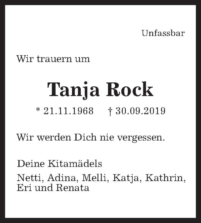 Traueranzeige für Tanja Rock vom 16.10.2019 aus Hannoversche Allgemeine Zeitung/Neue Presse