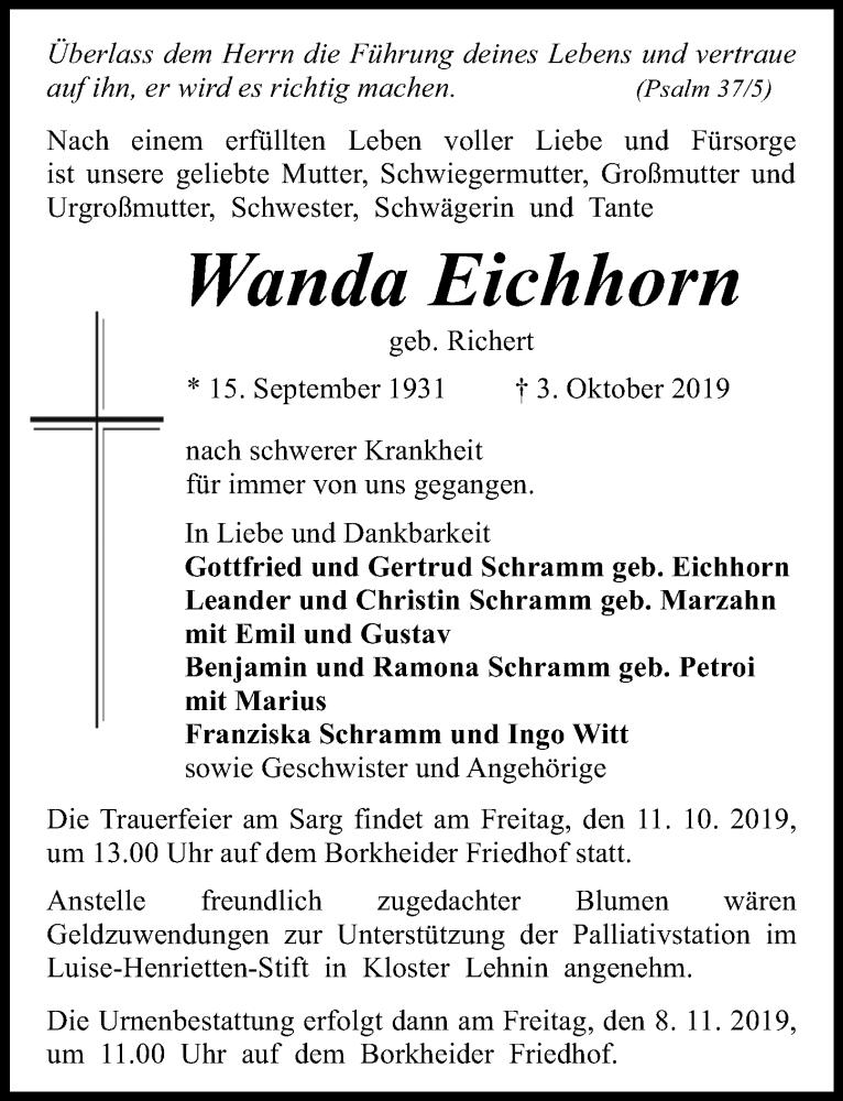 Traueranzeige für Wanda Eichhorn vom 09.10.2019 aus Märkischen Allgemeine Zeitung