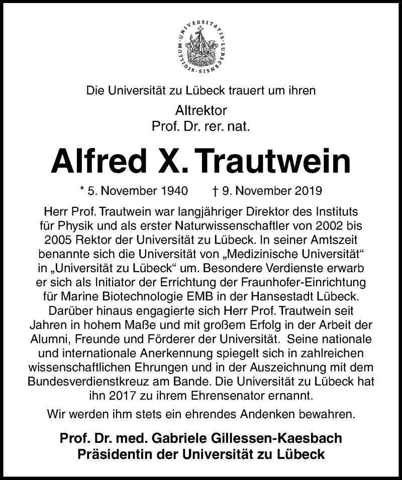 Traueranzeige für Alfred Trautwein vom 13.11.2019 aus Lübecker Nachrichten