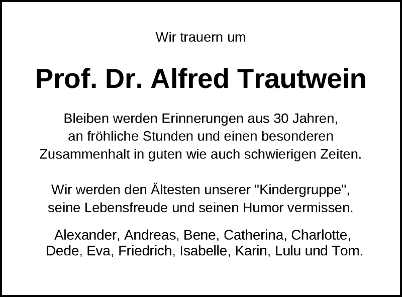 Traueranzeige für Alfred Trautwein vom 17.11.2019 aus Lübecker Nachrichten