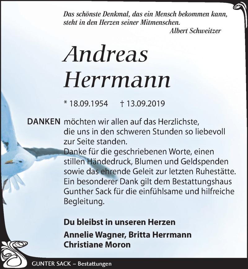 Traueranzeige für Andreas Herrmann vom 16.11.2019 aus Leipziger Volkszeitung