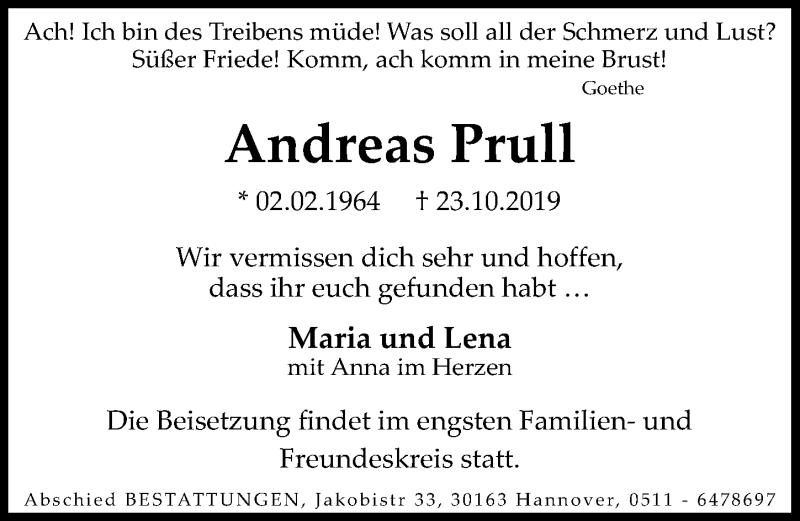 Traueranzeige für Andreas Prull vom 02.11.2019 aus Hannoversche Allgemeine Zeitung/Neue Presse
