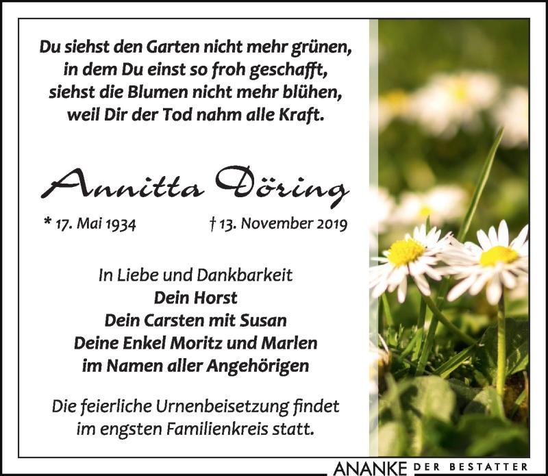 Traueranzeige von  Annitta Döring