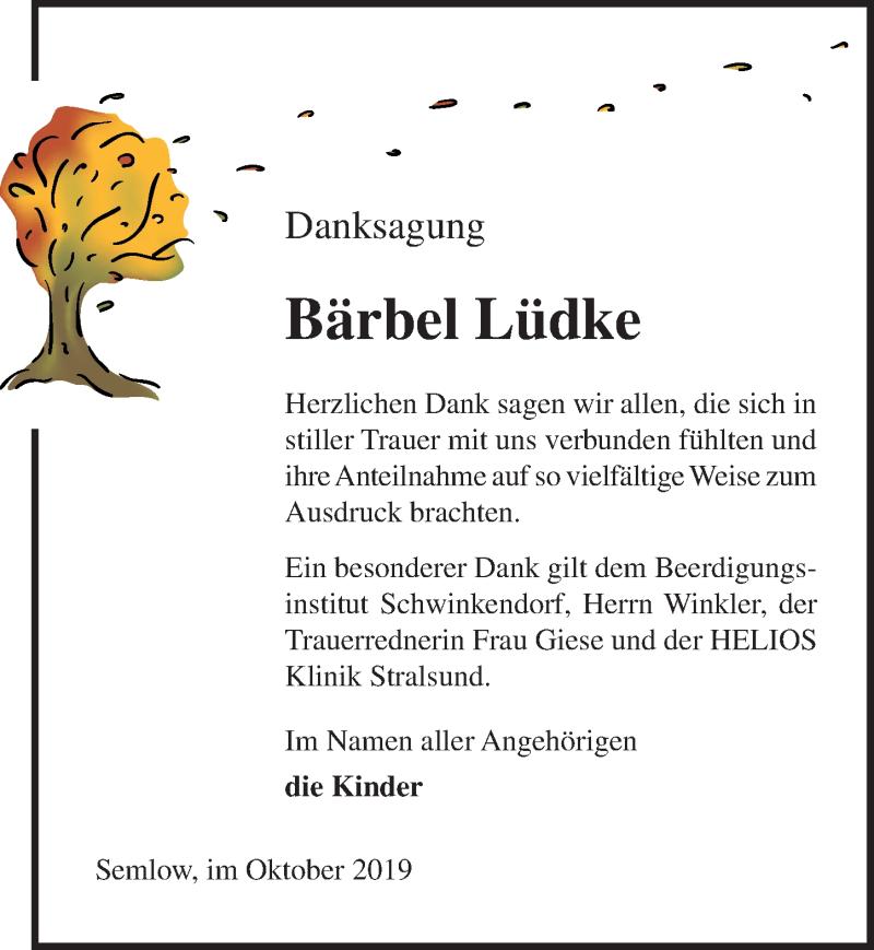 Traueranzeige für Bärbel Lüdke vom 02.11.2019 aus Ostsee-Zeitung GmbH