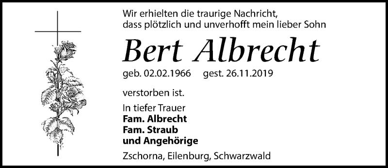 Traueranzeige für Bert Albrecht vom 30.11.2019 aus Leipziger Volkszeitung