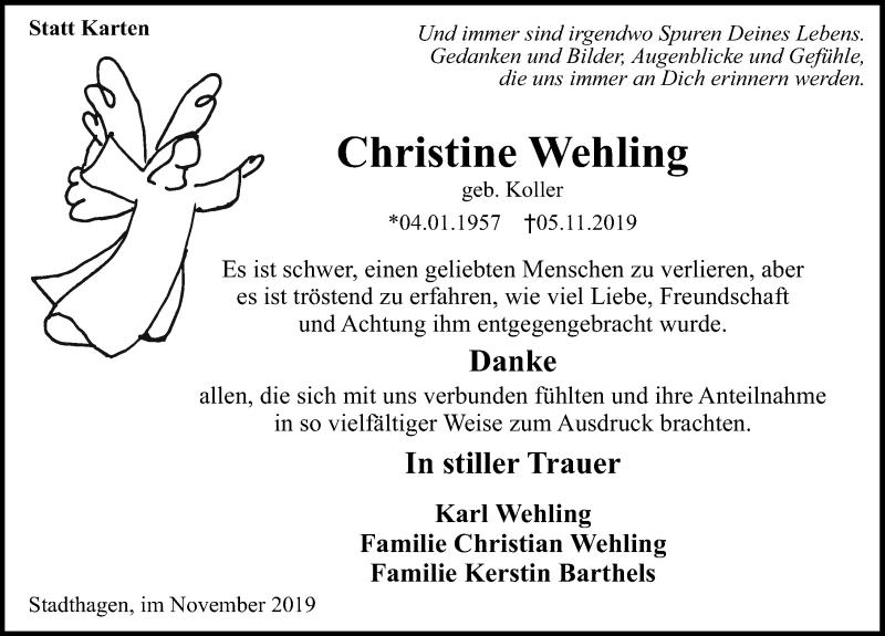 Traueranzeige für Christine Wehling vom 30.11.2019 aus Schaumburger Nachrichten
