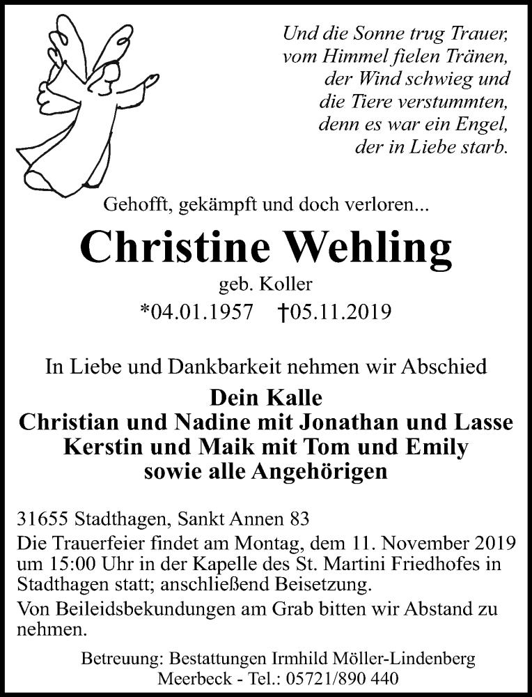 Traueranzeige für Christine Wehling vom 09.11.2019 aus Schaumburger Nachrichten