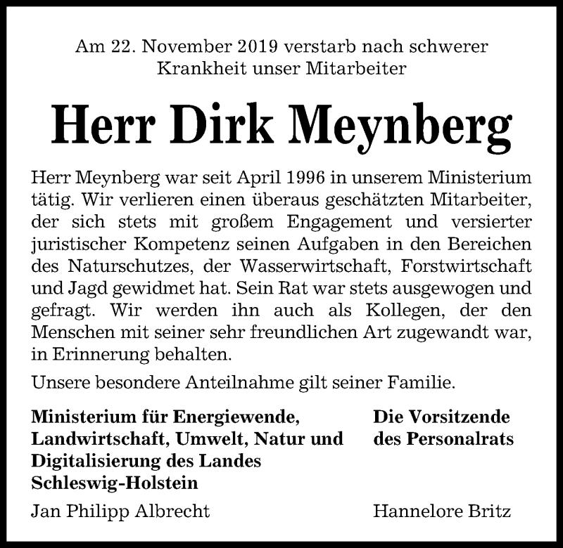 Traueranzeige für Dirk Meynberg vom 30.11.2019 aus Kieler Nachrichten