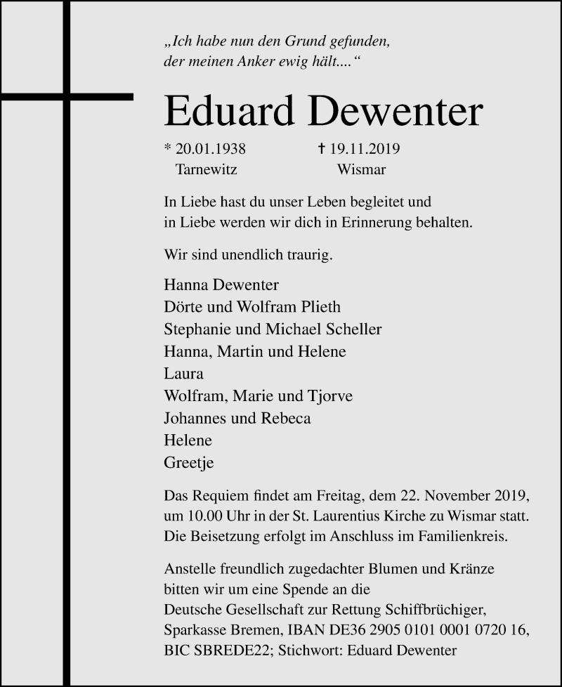 Traueranzeige von  Eduard Dewenter