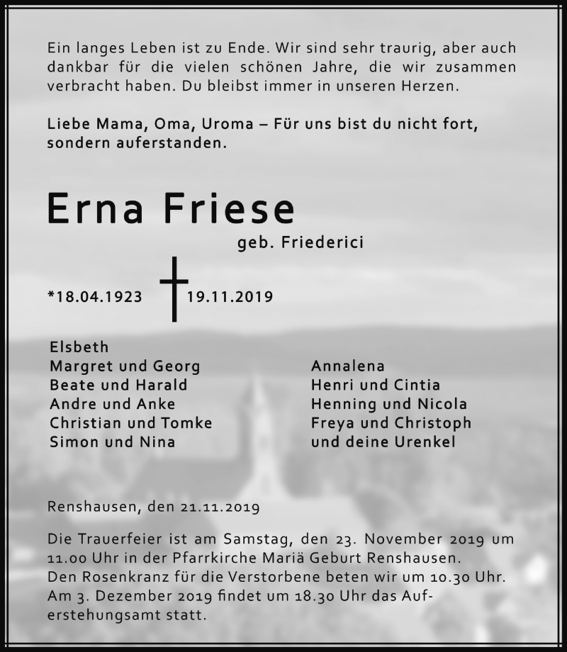 Traueranzeige von  Erna Friese