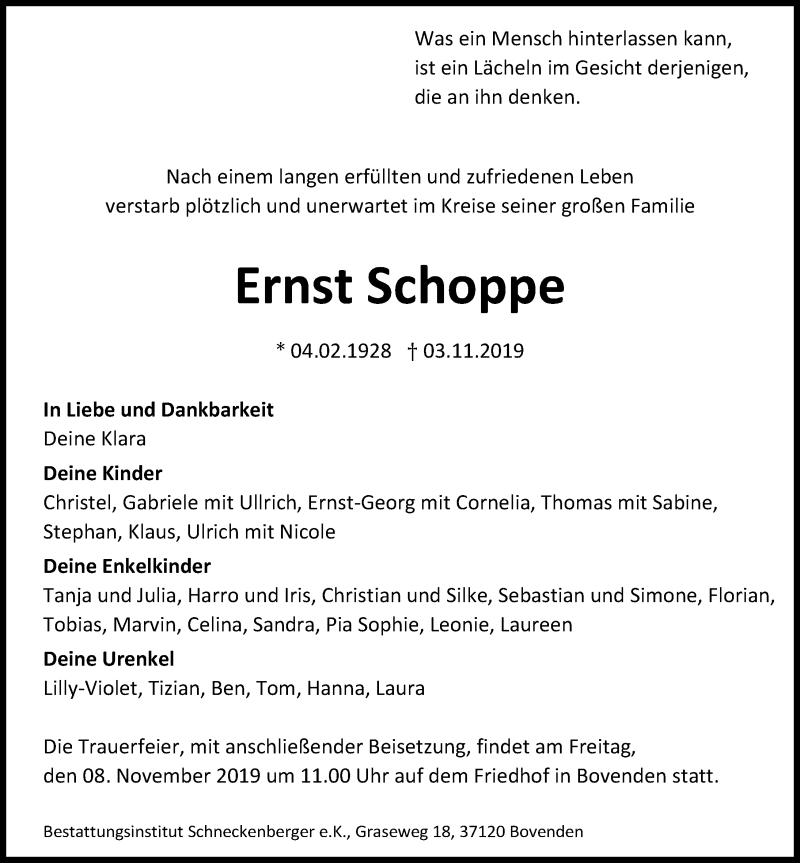 Traueranzeige für Ernst Schoppe vom 06.11.2019 aus Göttinger Tageblatt