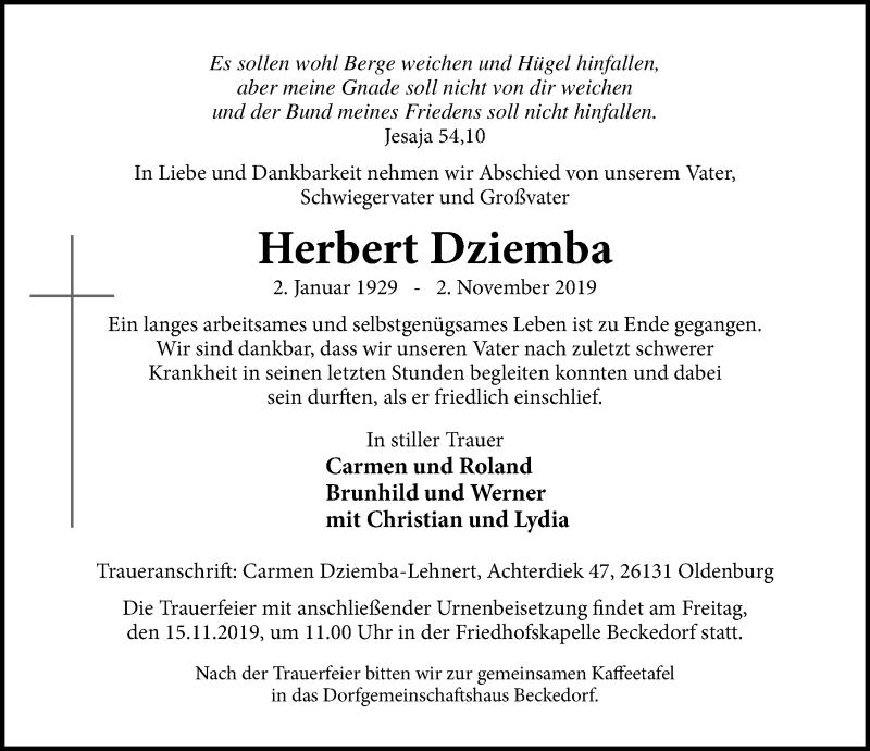 Traueranzeige für Herbert Dziemba vom 09.11.2019 aus Schaumburger Nachrichten