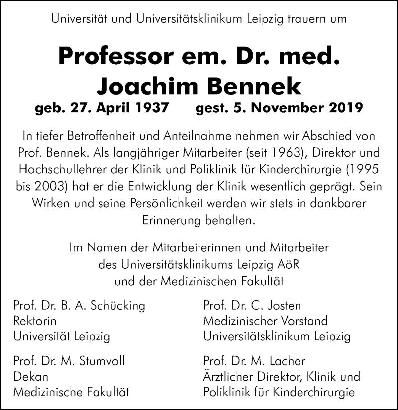 Traueranzeige für Joachim Bennek vom 16.11.2019 aus Leipziger Volkszeitung