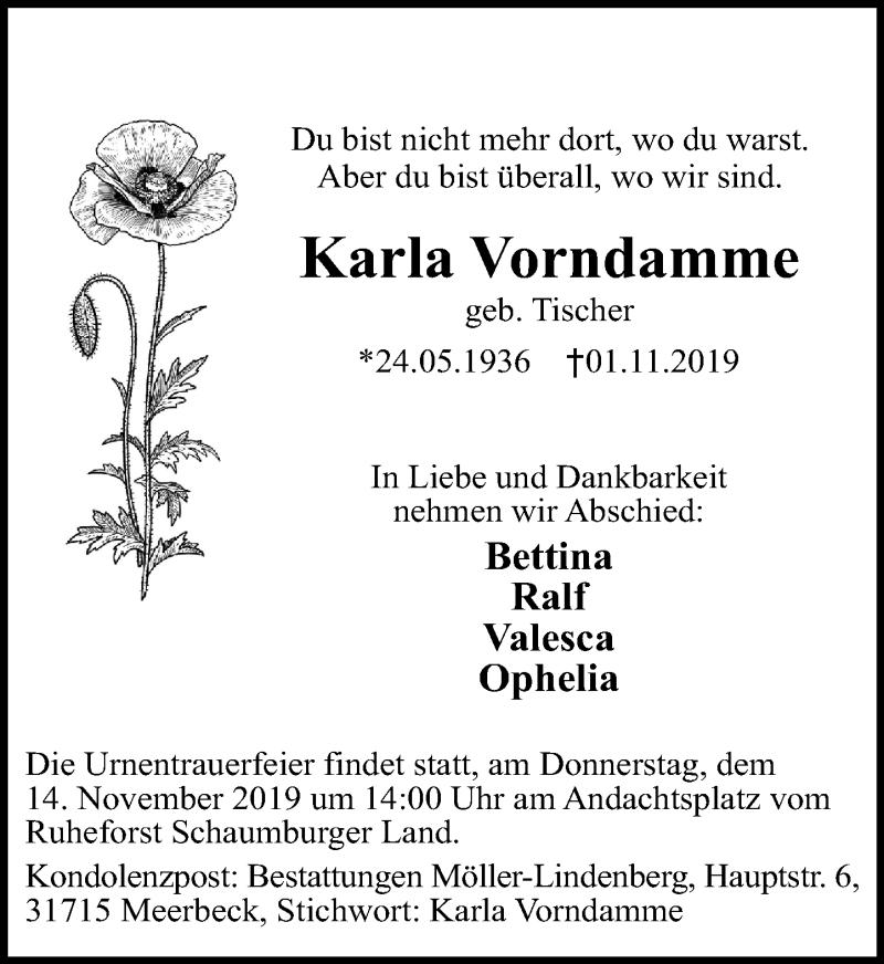 Traueranzeige für Karla Vorndamme vom 09.11.2019 aus Schaumburger Nachrichten