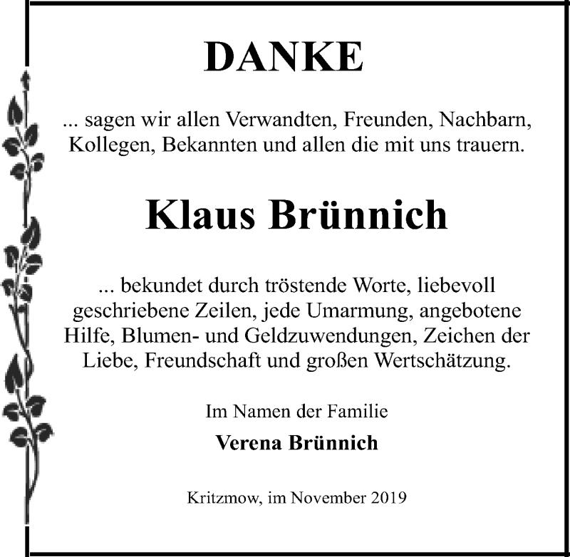 Traueranzeige für Klaus Brünnich vom 30.11.2019 aus Ostsee-Zeitung GmbH