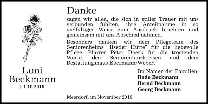 Traueranzeige für Loni Beckmann vom 09.11.2019 aus Peiner Allgemeine Zeitung