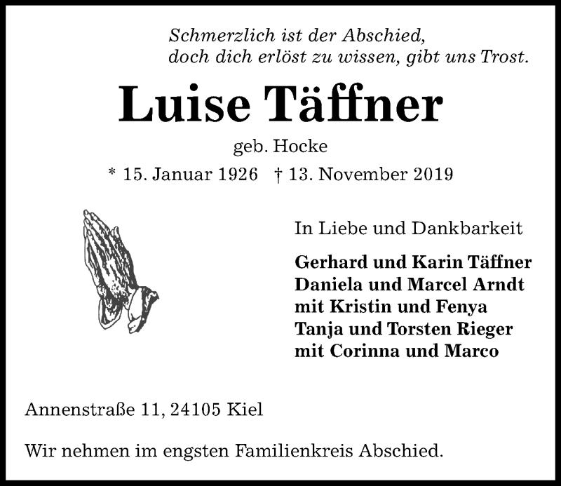 Traueranzeige für Luise Täffner vom 16.11.2019 aus Kieler Nachrichten