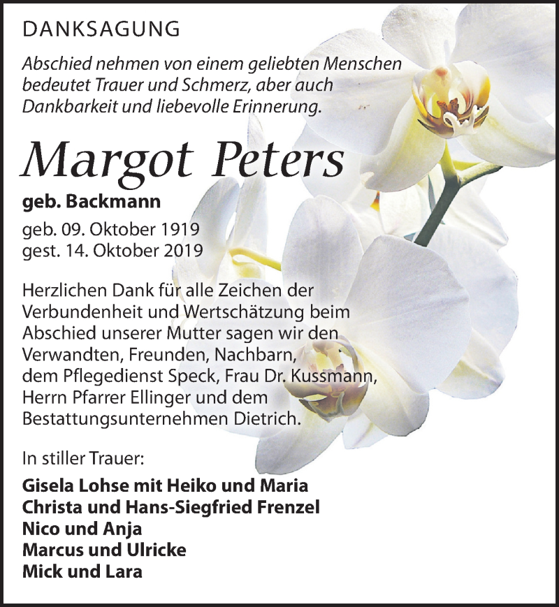 Traueranzeige für Margot Peters vom 02.11.2019 aus Leipziger Volkszeitung
