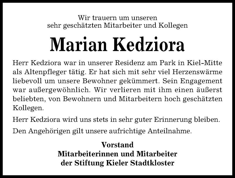 Traueranzeige für Marian Kedziora vom 09.11.2019 aus Kieler Nachrichten