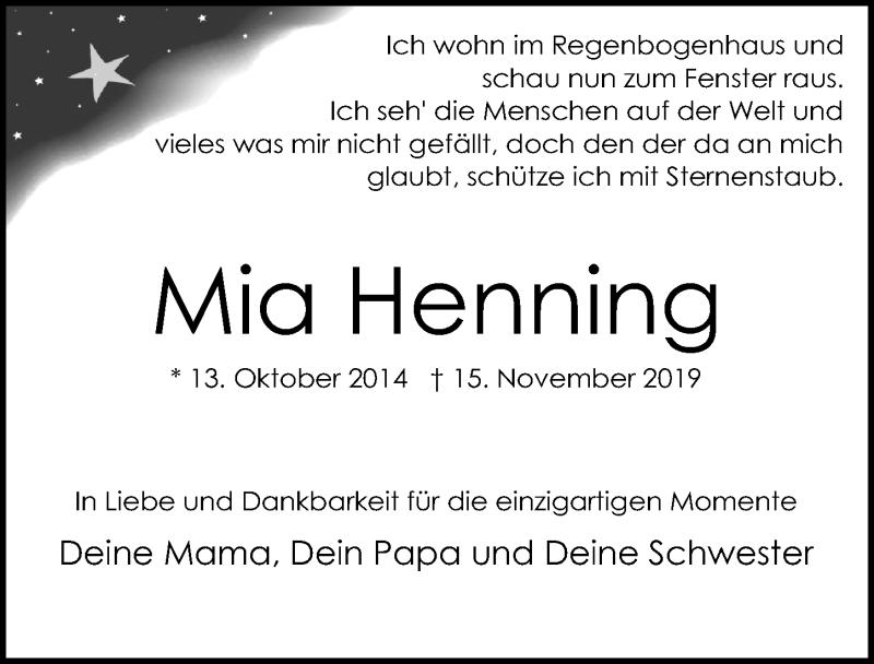 Traueranzeige für Mia Henning vom 24.11.2019 aus Lübecker Nachrichten