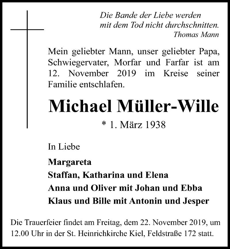 Traueranzeige für Michael Müller-Wille vom 16.11.2019 aus Kieler Nachrichten