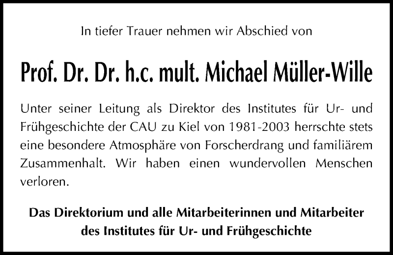 Traueranzeige für Michael Müller-Wille vom 20.11.2019 aus Kieler Nachrichten