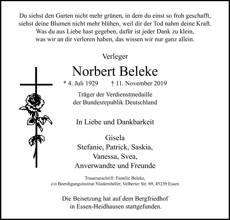 Traueranzeige für Norbert Beleke vom 20.11.2019 aus Lübecker Nachrichten