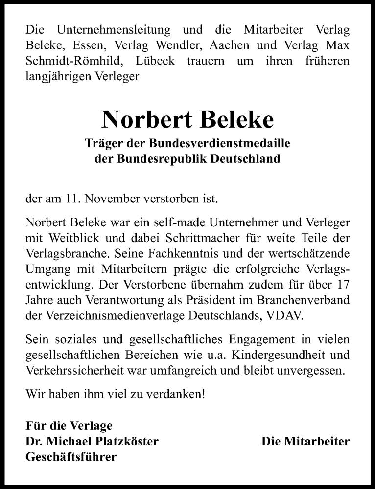 Traueranzeige für Norbert Beleke vom 24.11.2019 aus Lübecker Nachrichten
