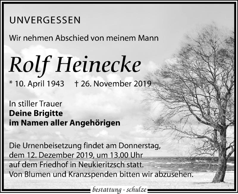 Traueranzeige für Rolf Heinecke vom 30.11.2019 aus Leipziger Volkszeitung