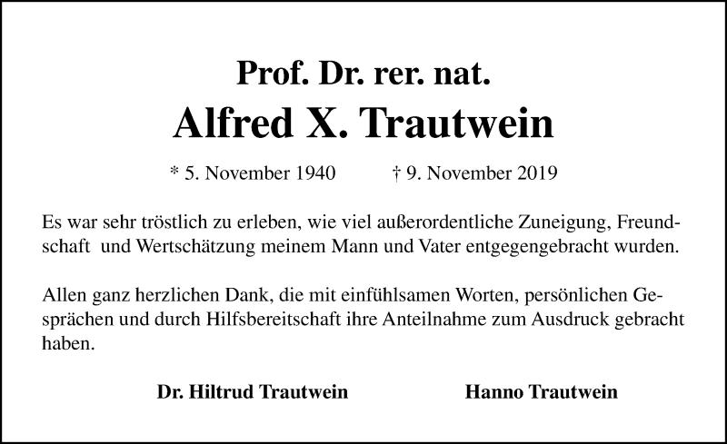 Traueranzeige für Alfred Trautwein vom 22.12.2019 aus Lübecker Nachrichten