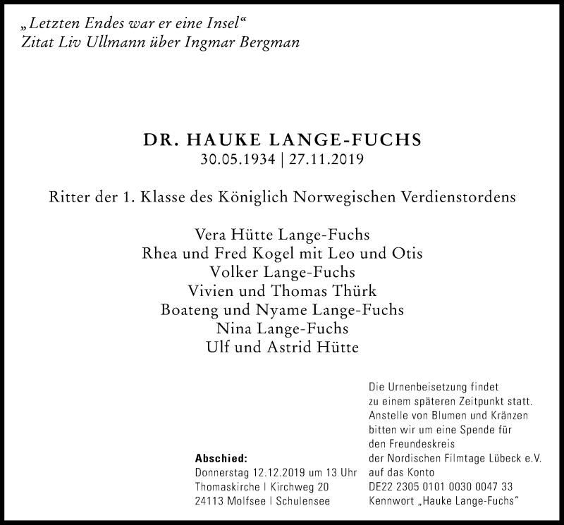 Traueranzeige für Hauke Lange-Fuchs vom 07.12.2019 aus Kieler Nachrichten