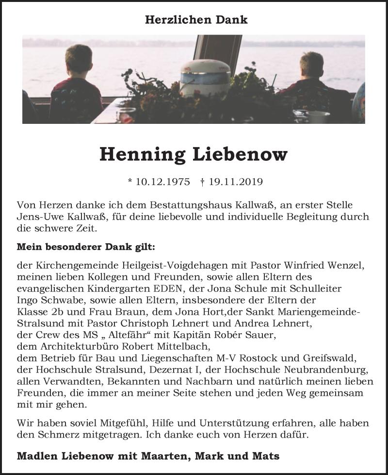 Traueranzeige für Henning Liebenow vom 21.12.2019 aus Ostsee-Zeitung GmbH