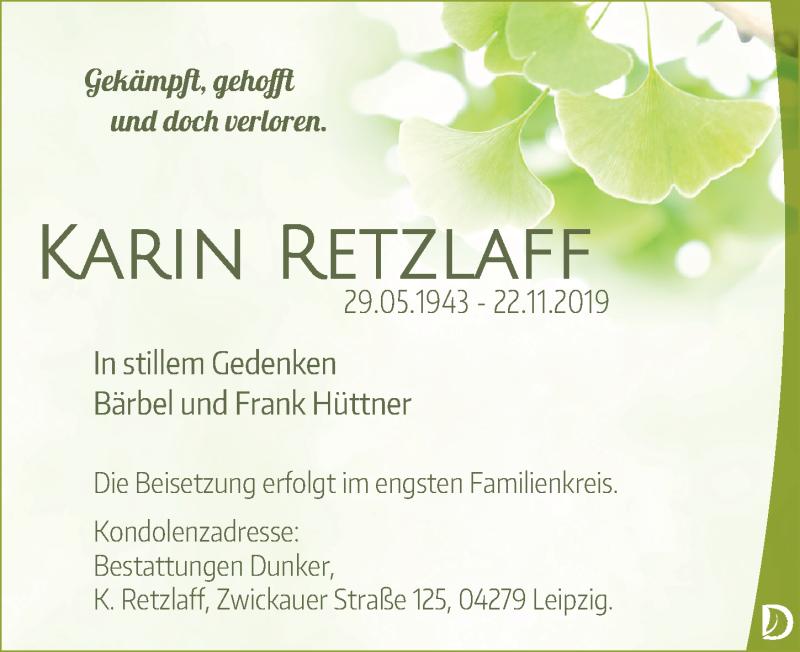 Traueranzeige für Karin Retzlaff vom 07.12.2019 aus Leipziger Volkszeitung
