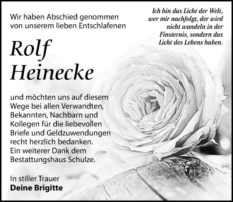 Traueranzeige für Rolf Heinecke vom 21.12.2019 aus Leipziger Volkszeitung