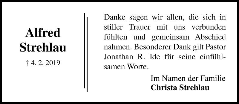 Traueranzeige für Alfred Strehlau vom 24.02.2019 aus Lübecker Nachrichten