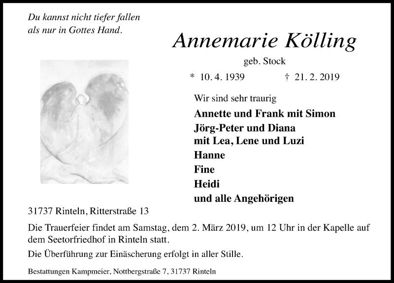 Traueranzeige für Annemarie Kölling vom 23.02.2019 aus Schaumburger Nachrichten