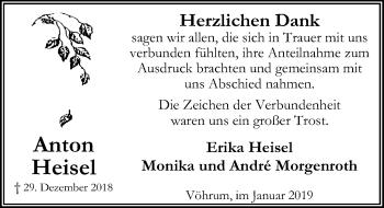 Traueranzeige für Anton Heisel vom 02.02.2019 aus Peiner Allgemeine Zeitung