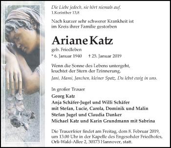 Traueranzeige für Ariane Katz vom 02.02.2019 aus Hannoversche Allgemeine Zeitung/Neue Presse