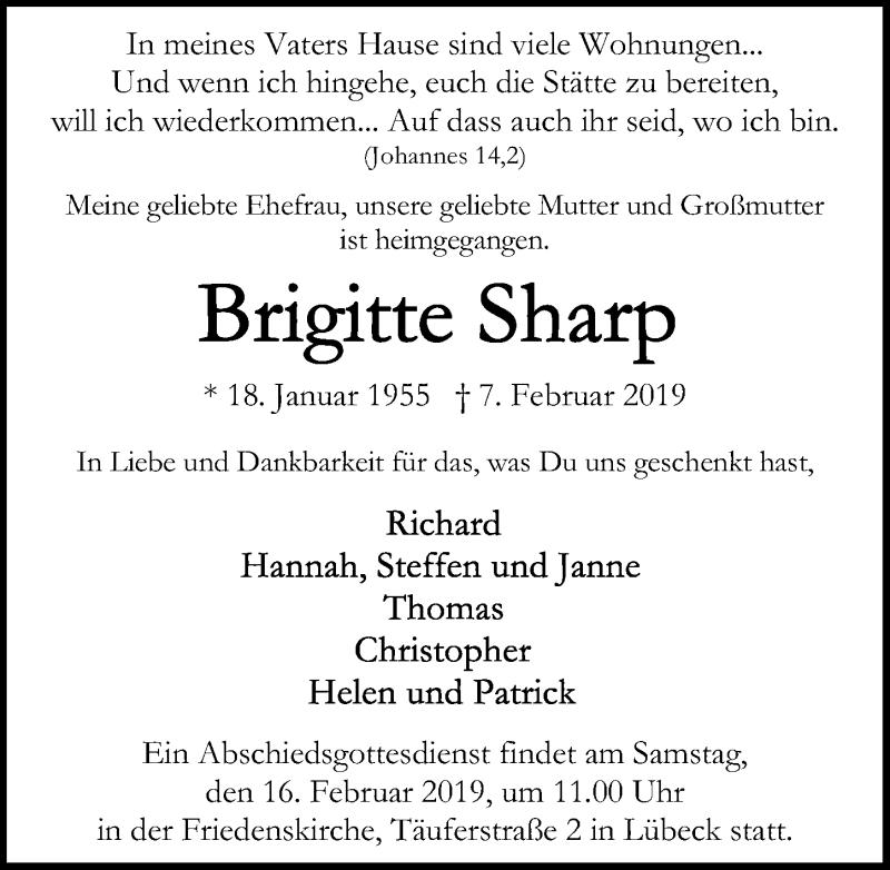 Traueranzeige für Brigitte Sharp vom 16.02.2019 aus Lübecker Nachrichten