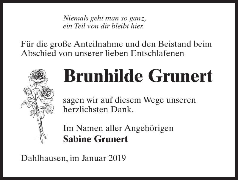 Traueranzeige für Brunhilde Grunert vom 02.02.2019 aus Märkischen Allgemeine Zeitung